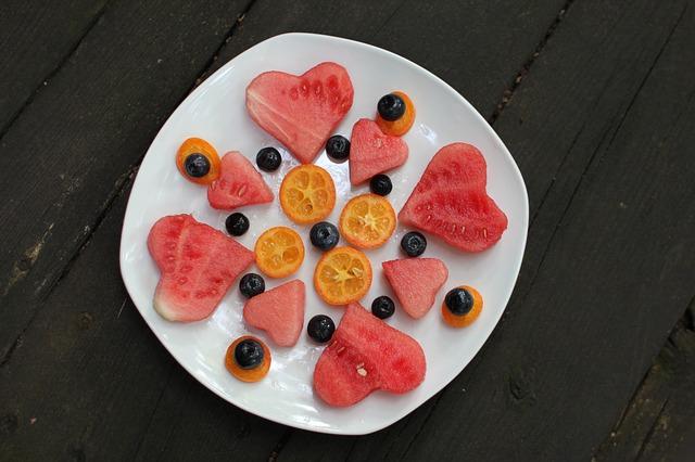 vodní meloun a borůvky